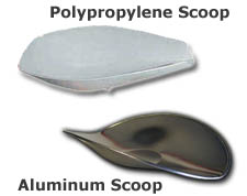 Aluminum, Stainless Steel and Polypropylene Scoops